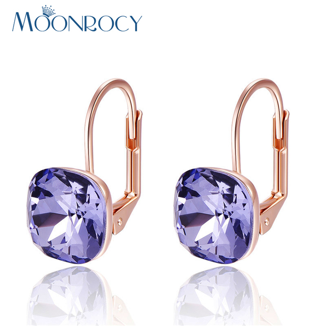 MOONROCY Free Shipping Fashion Jewelry Rose Gold Color Square Purple Blue CZ Crystal Earrings Jewelry for Women Girl Gift