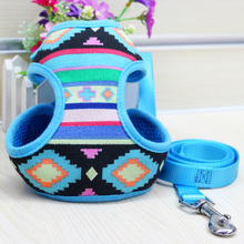 Free Shipping Adjustable Soft Mesh Fabric Padded Dog Harness Tartan Puppy Pet Lead Leash Pet Product