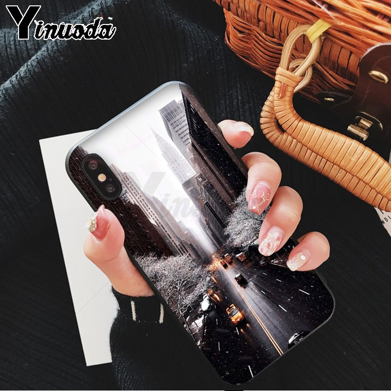 Yinuoda NYC NEW YORK city landscape Newly Arrived Black Cell Phone Case for iPhone X XS MAX 6 6s 7 7plus 8 8Plus 5 5S SE XR in Half wrapped Cases from Cellphones Telecommunications