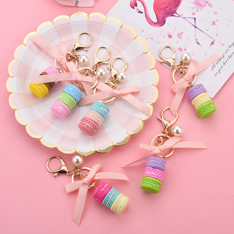 Cute Cake Keychain Bow Pearl Keychain Metal Jewelry Ladies Fashion KeyRing Bag Pendant Wedding Party Gift Jewelry  K2279
