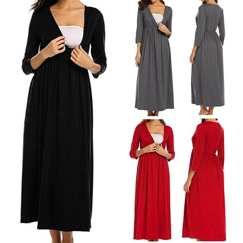 Pregnancy Dress Fashion Women Breastfeeding Nursing Solid V-Neck Three Quarter Sleeve Dresses Robe Grossesse Winter Clothing