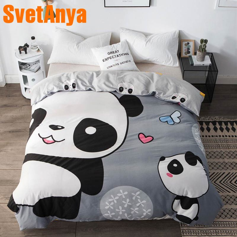 Svetanya 1pc Duvet Cover 100% Cotton Quilt Comforter Blanket Case Kids Cartoon Panda Printed