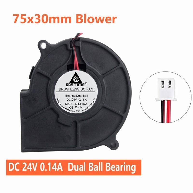 1pc Brushless DC Cooling Blower Fan 75x75x30mm 75mm 7530 12V 2pin