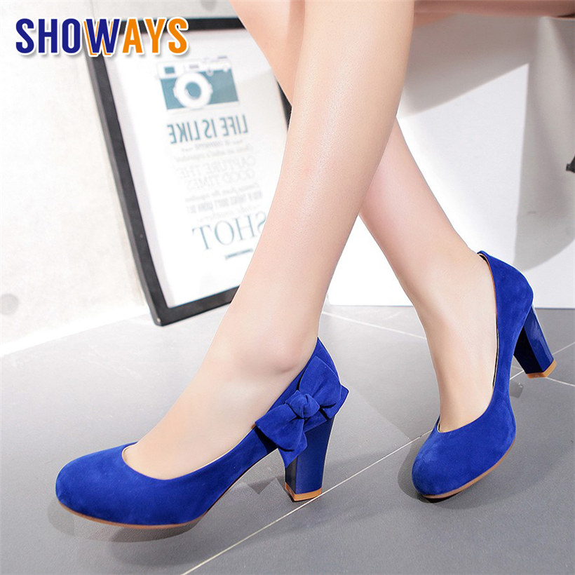 Sweet Women Pumps Bowtie Flock Round Toe 7cm Chunky Block High Heels Red Bottom  Slip-on Dress Casual Party Office Ladies Shoes