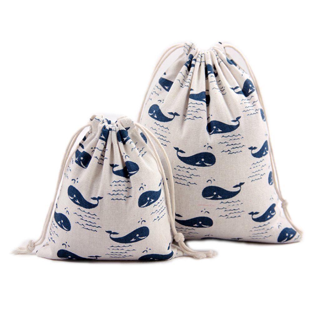 METABLE 12 Pieces Whales Pattern Gift Bags Various Size Wedding Party Favor Drawstring Jewelry Pouches, 3x3 Inches