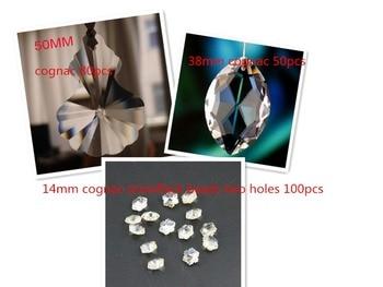 80pc 50mm crystal pendants 50pcs 38mm horse eye pendants 14mm 100pcs  crystal snowflake beads two holes cognac suncatcher parts