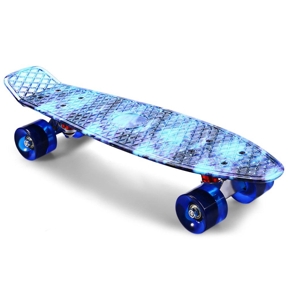 Prix pour 22 pouce CL-94 Impression Ciel Bleu Planche À Roulettes Motif Étoilé Skate Planche Complète Rétro Cruiser Longboard Planche À Roulettes