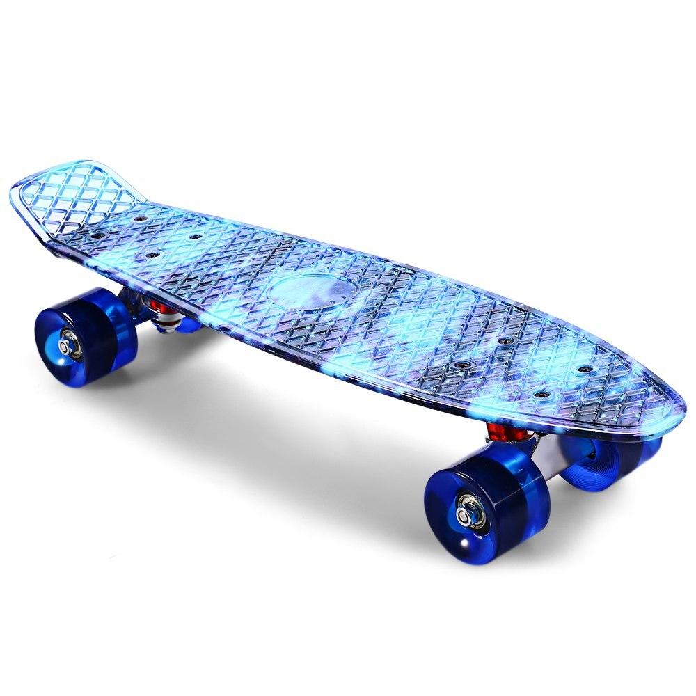 22 pouces CL-94 impression ciel bleu planche à roulettes motif étoilé planche à roulettes complète rétro Cruiser Longboard planche à roulettes