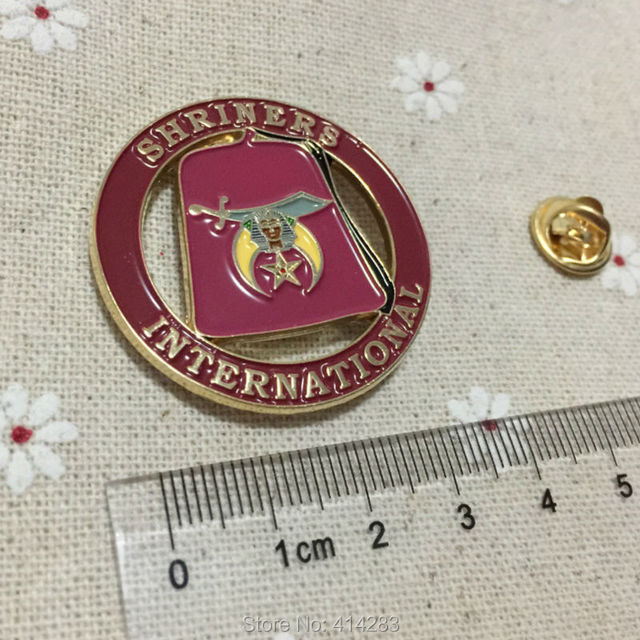 US $85 0 |100pcs Factory Customized brooch Masonic Lapel Pin Freemasons  Round Shape International Shriners Hat Pins Badge Masons-in Brooches from