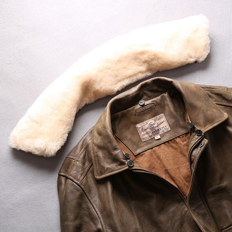 HTB1j3NrFAKWBuNjy1zjq6AOypXaL AVIREX FLY 2018 Genuine Leather jacket Men Bomber Jacket Fur Collar Cowskin Short Air Force Flight Jacke Vintage Winter Coat