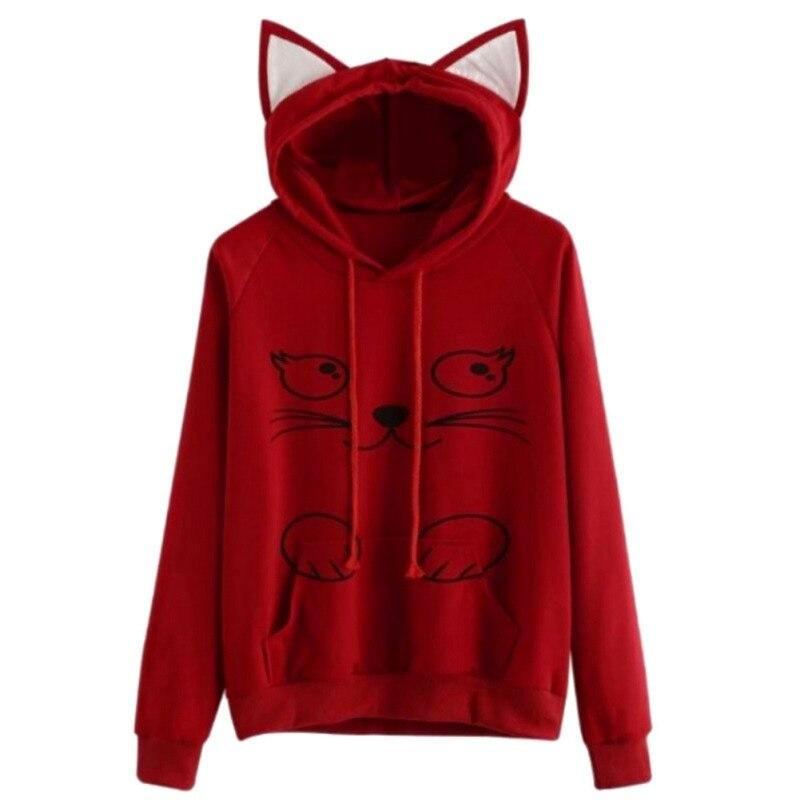 Women Hoodies Sweatshirts Hooded Hoodie Kangaroo New Ear Solid Pullovers Pink Sweats Cat Long Cute Pullover Pocket Sleeve