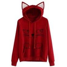 цена на Women Hoodies Sweatshirts Hooded Hoodie Kangaroo New Ear Solid Pullovers Pink Sweats Cat Long Cute Pullover Pocket Sleeve