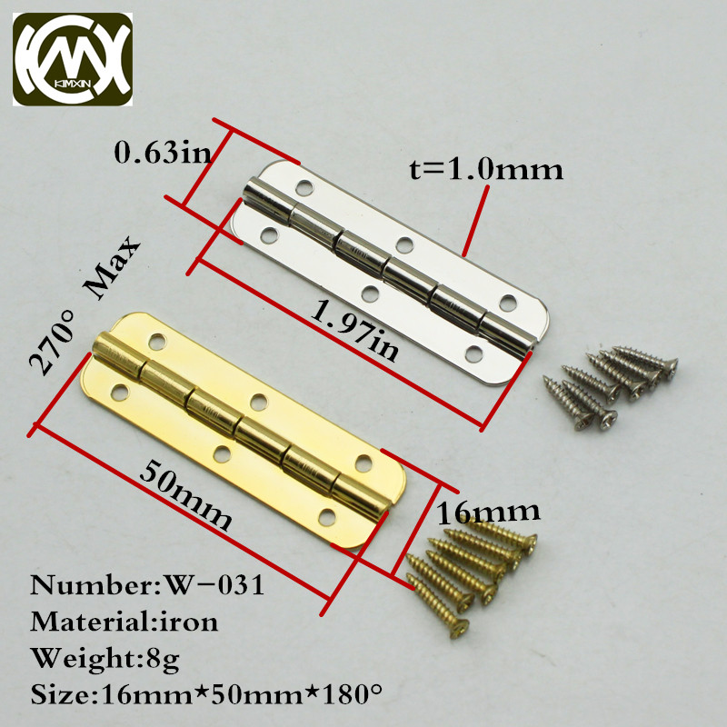 16 50mm 16pcs in stock furniture connectors 6 hole small wooden gift box hinge Fast shipping
