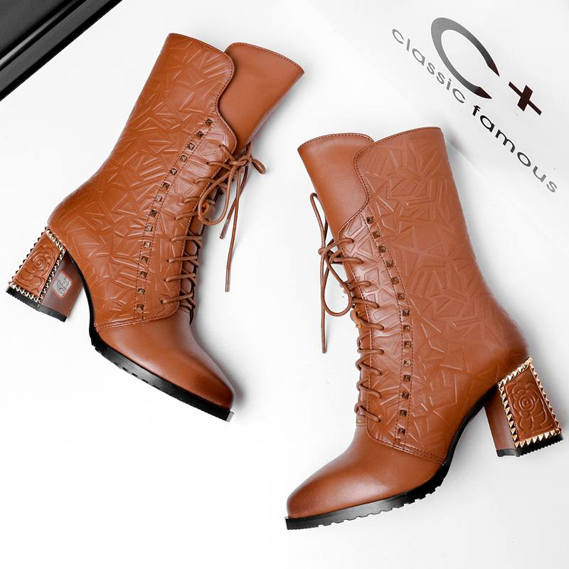 ФОТО 2017 New Winter Fashion Pointed Toe Lace Up Genuine Leather Print Flower Zip Rivets Women Ankle Boots Thick Heel Chelsea Boots