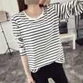 Cotton Striped Unique Small V-neck Long Sleeve T Shirt Spring Autumn Women Fashion T-shirt  Girls Students Loose Tees Tops Novel