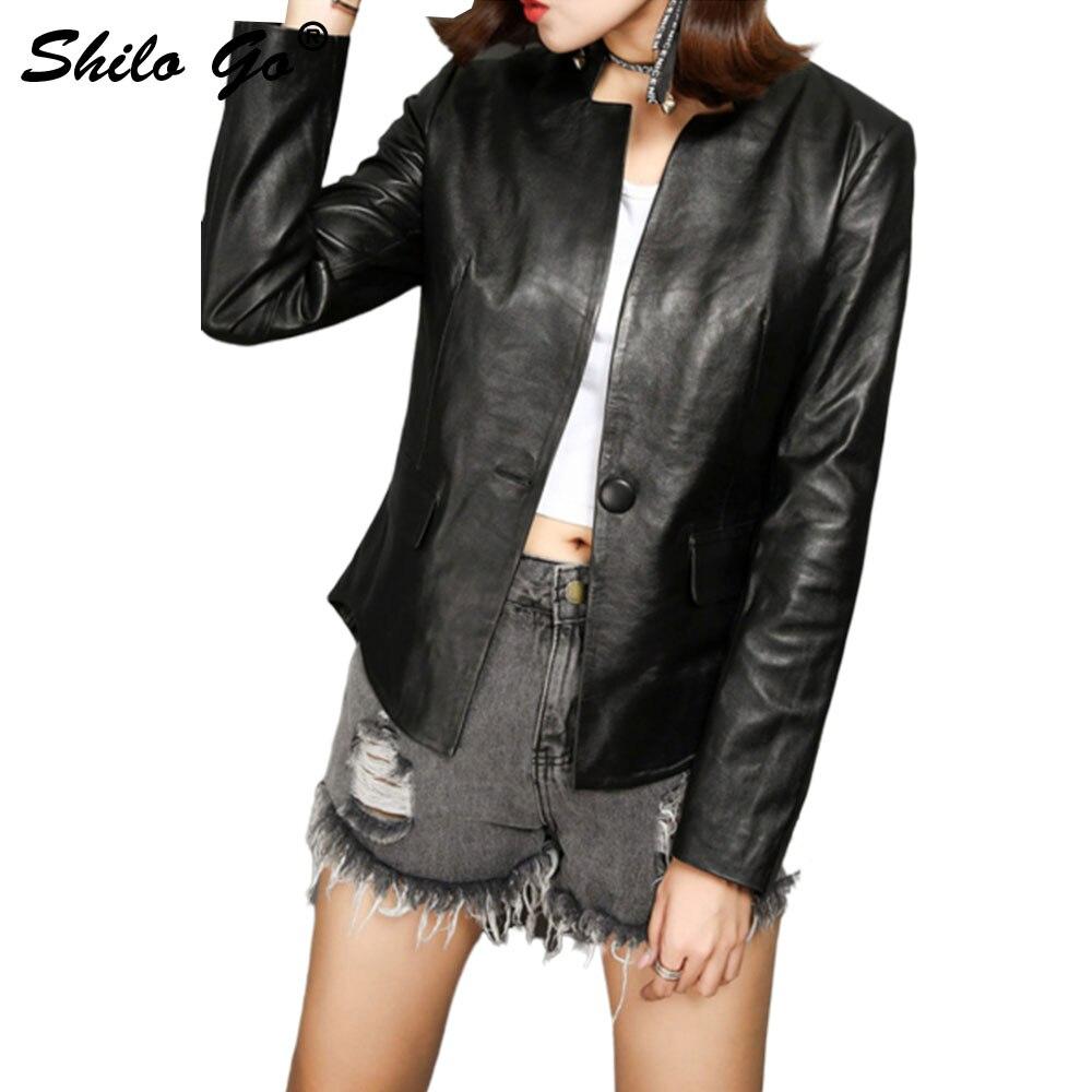 SHILO GO Leather Jacket Womens Autumn Fashion sheepskin genuine Leather Jacket V Neck long sleeve single