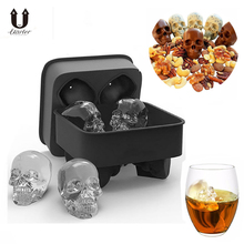 UARTER DIY 4-Cavity 3D Silicone Ice Cube Molds Whiskey Cocktail Ice Ball Ice Cream Mold Maker Tray Party Spooky Bar Skull Tool