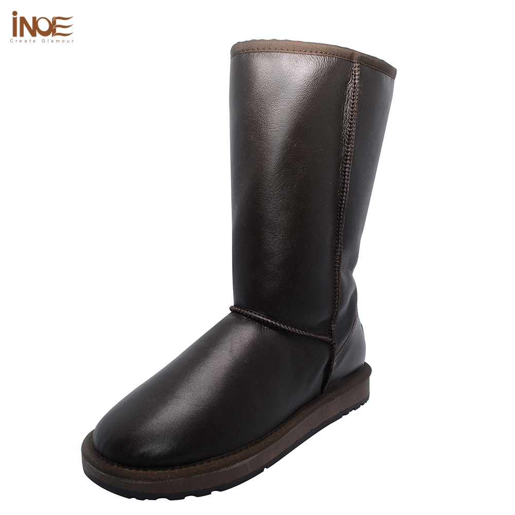 INOE sheepskin leather fur lined fashion high snow boots for women winter shoes waterproof flats high quality size 35-44 black inoe suede high snow boots for women winter shoes sheepskin leather fur lined big girls tall wool thigh winter boots black brown