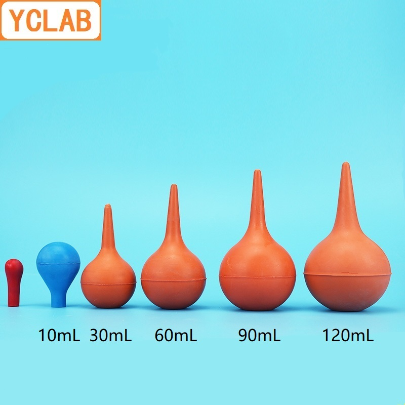 YCLAB Bulb Suction Syringe Red Or Blue Aurilave Washing Ear Ball Rubber Nozzle Small Medium Large Extra Large Labware Equipment