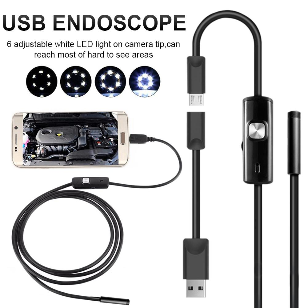 6LED 5,5mm manguera USB teléfono móvil endoscopio tubo duro canal aire acondicionado Auto reparación Cámara