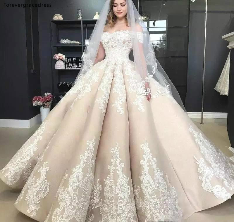 Vintage Princess Wedding Dresses 2019 Champagne Off Shoulder Country Garden Bride Bridal Gowns Plus Size Custom Made