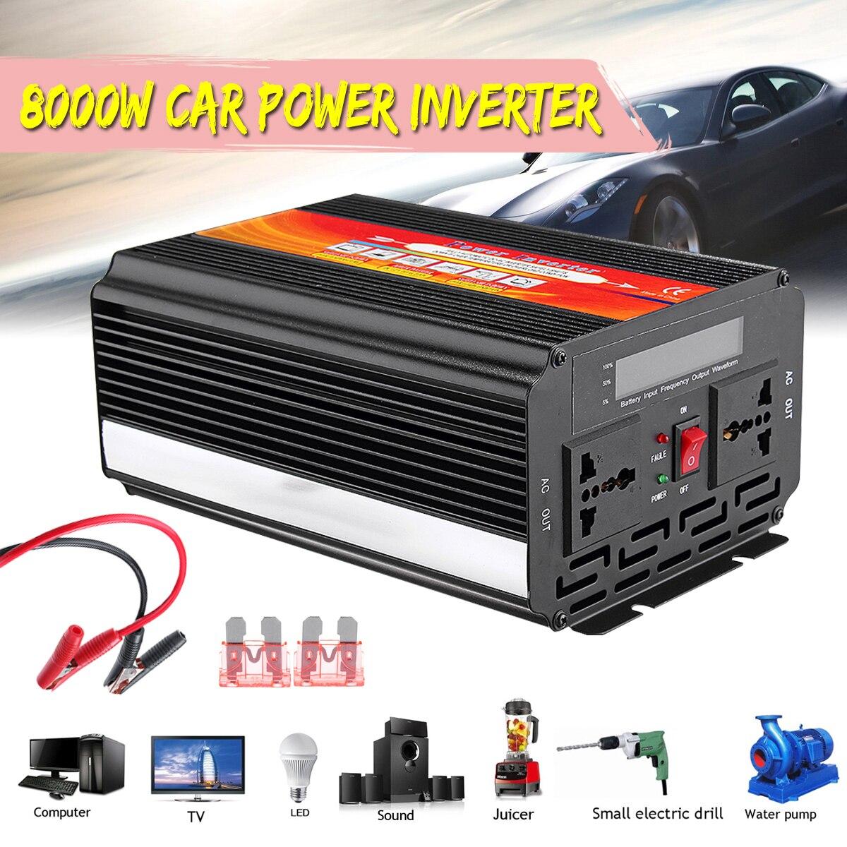 Инвертор 12/24 В до 220/110 В P ЕАК 8000 Вт Напряжение трансформатор модифицированный синус преобразователь волна предохранитель Универсальный Инт...
