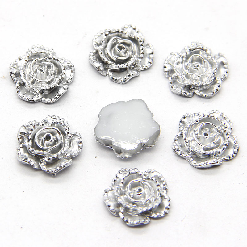 New 40pcs 18mm Silver Rose Flower Flatback Kawaii Flat Back Resin Cabochon DIY Craft Wedding Decoration Embellishment
