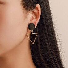 Korean fashion earrings Asymmetric triangle circular combination Popular irregular