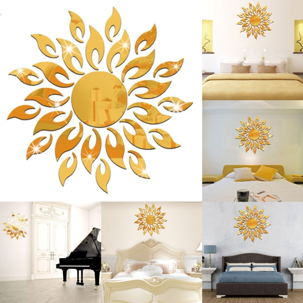 Acrylic 3D Sun Mirror Effect Wall Sticker Room Art Mural Decor Decal ...
