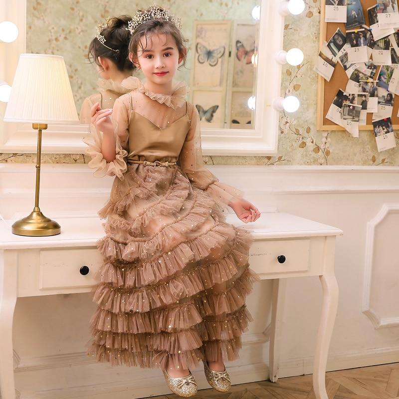 2019 mode nouvelle robe pour enfants modèle concours défilé longue robe de soirée robe de princesse Noble tempérament enfants dentelle robe - 3