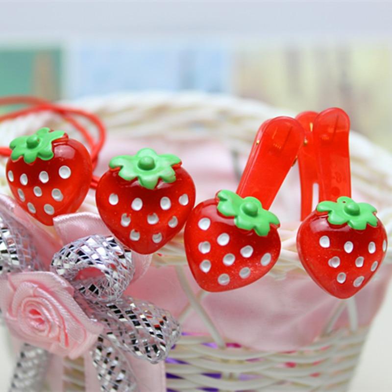 Fashion Hair Clip Children Girls Red Strawberry Headband Cute Dots Barrettes Hair Accessories Hairpins Princess Gift 4pcs ...