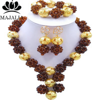 Majalia Fashion Brown African Costume Jewelry Set Nigerian Wedding African Beads Jewelry Set CX 003