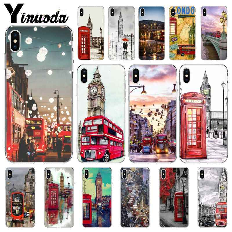 Yinuoda style london bus england telephone vintage british DIY Protector Case for iPhone X XS MAX 6 6S 7 7plus 8 8Plus 5 5S XR