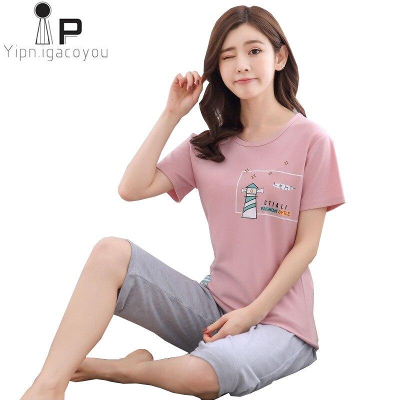 Pyjamas women two piece 2018 Spring Summer thin Plus size night suit print cotton women home clothes Girl pajama set sleepwear