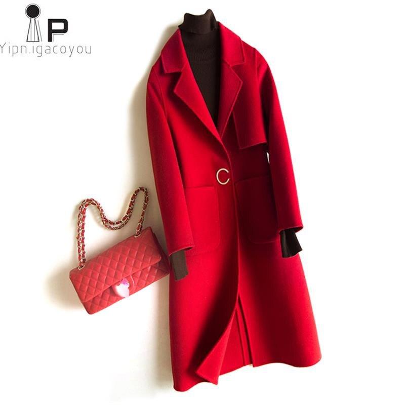 Зимние Для женщин длинные Blend Шерстяное пальто осень плюс Размеры красный верблюд теплое шерстяное пальто Для женщин куртки верхняя одежда