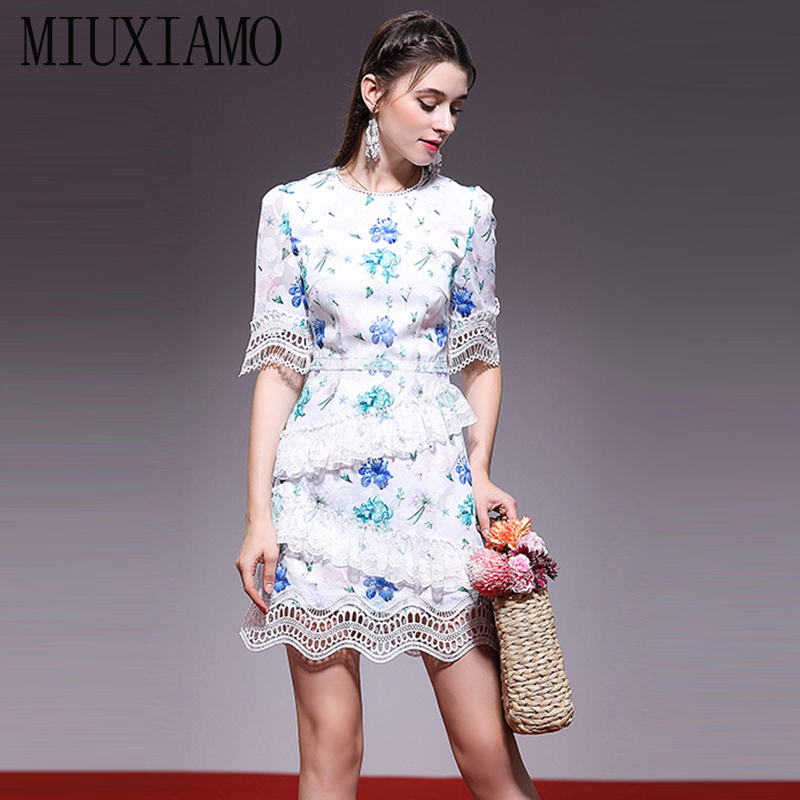 MIUXIMAO haute qualité 2019 été et printemps robe en dentelle vintage vierge fleur imprimer Eleghant décontracté robe à volants femmes robe