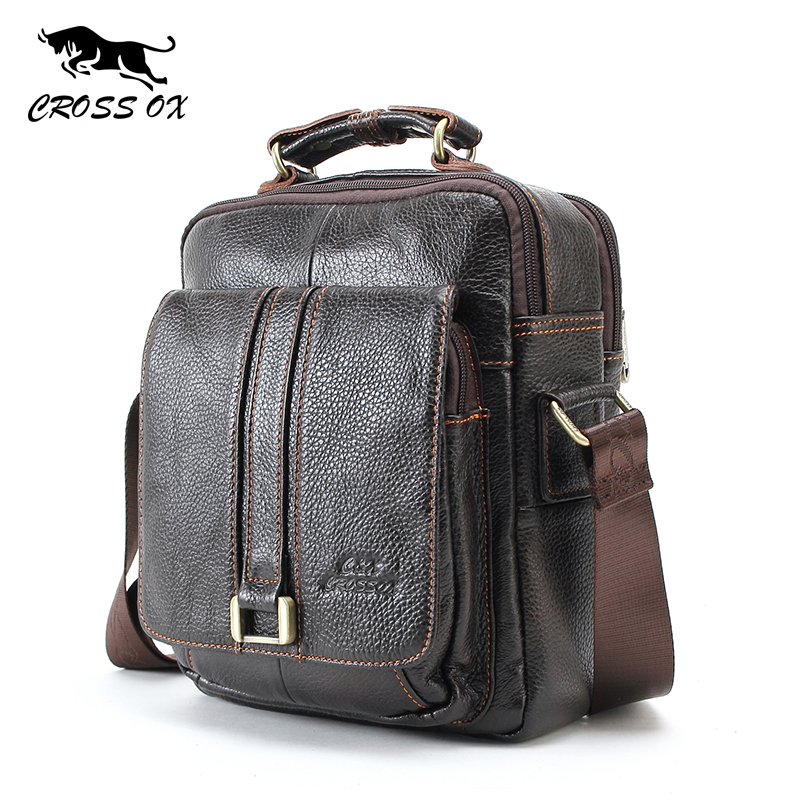 CROSS OX Mens Genuine Leather Handbag Shoulder Bag For Men Natural Cowskin Men B