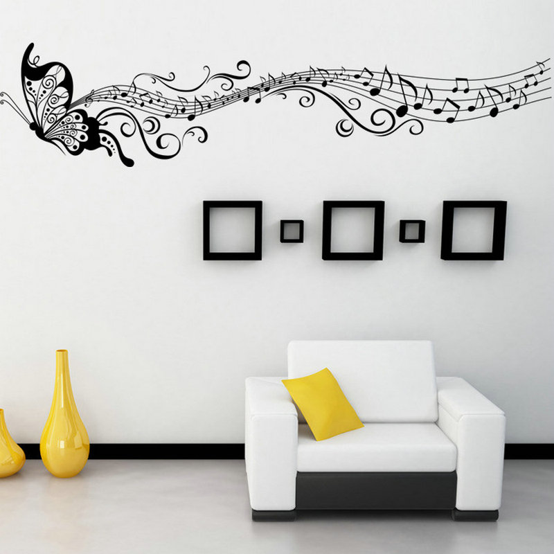 1pc Hot Art Mural Home Decor Wall Room Butterfly Music