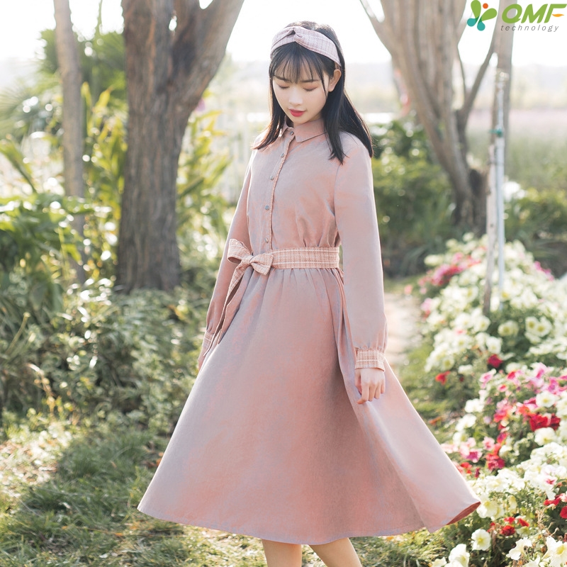 Pink Pleated Dress Casual Sash Summer Dress Fresh Literary Vestidos Button Green Long Dresses Female Cotton High Quality