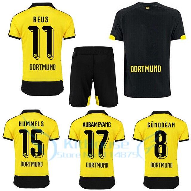 2016 REUS kit 15 16 Borussia Dortmund soccer jersey+short AUBAMEYANG home yellow  football shirt GUNDOGAN bvb black uniforms set 094a3715f