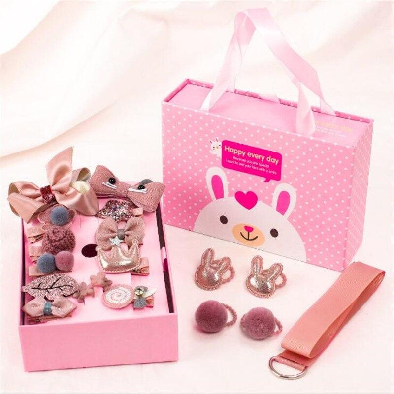 18 Pcs/Box Cute Cartoon Rabbit Princess Hairpins Children Girls Kids Hair Clips Bows Accessories Barrette Hairclip Headwear Gift