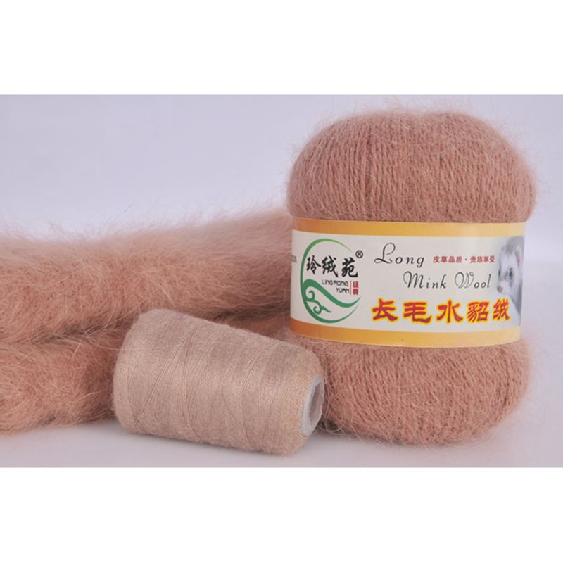 50 Grams Per Person High-quality Soft Mink Wool Hand-knitted Luxury Long-wool Cashmere Crochet Knitted Yarn Suitable For Autumn