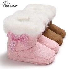Новые брендовые теплые зимние ботинки для маленьких девочек и мальчиков, ботиночки, зимние тапочки, однотонная меховая обувь без шнуровки с бантом, хлопковая меховая обувь, 0-18 месяцев