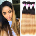 Halo Lady Ombre Peruvian Virgin Hair Straight 4 pcs Blonde 1b/27 Ombre weave bundles Ombre Human Hair 7A Ombre Hair Extensions