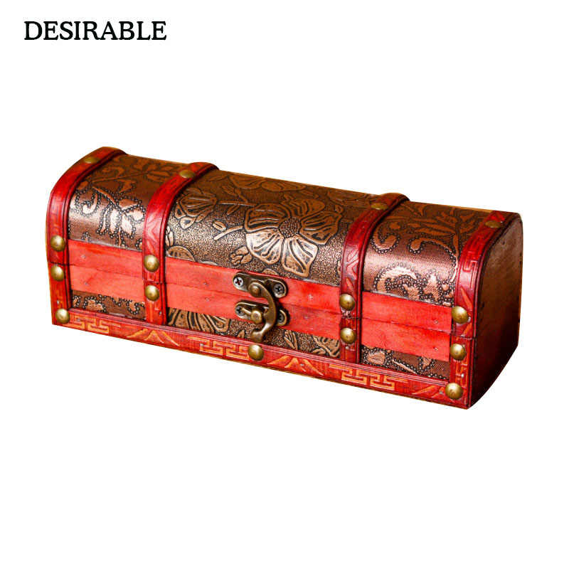 DESIRABLE Creative Classical Jewelry Box Square Wooden Necklace Hairpin Treasure Storage Box