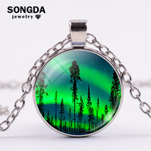 SONGDA Northern Lights Necklace Aurora Borealis Pattern Glass Cabochon Pendant Necklace Natural Scenery Jewelry Women Girls Gift