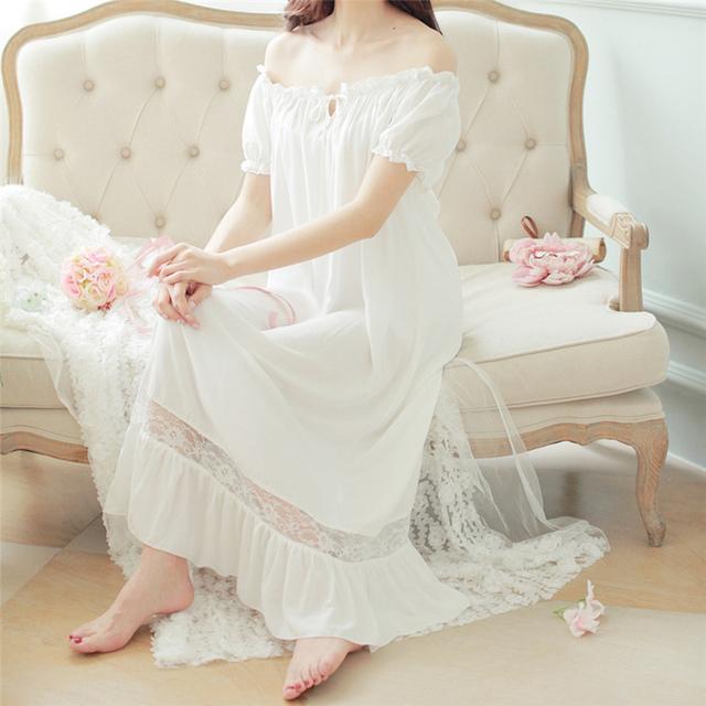 Os Recém-chegados Verão Camisolas O-pescoço Das Senhoras Soltos Vestidos de Princesa Longo Desgaste Do Sono Lace Sólidos Vestido de Casa Sexy Camisola # HH10