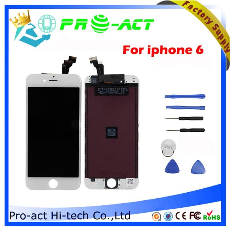 imágenes para 20 unids/lote highscreen lcd para iphone 6 kits de reemplazo de pantalla táctil digitalizador asamblea negro blanco envío libre de dhl