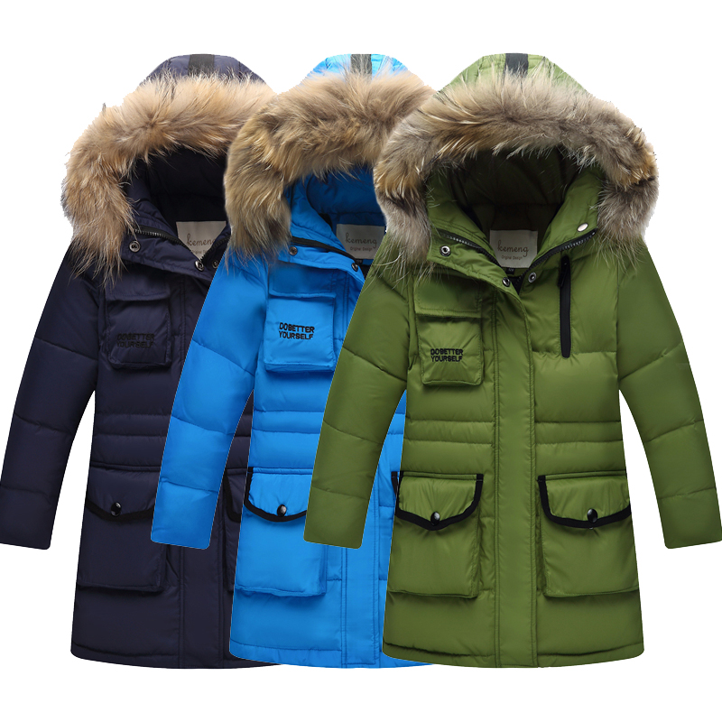 -30 Degree New Girls Boy's Long Down Jackets For Youth Children big Boy clothing Winter Parka real Fur Coat Kids Clothes
