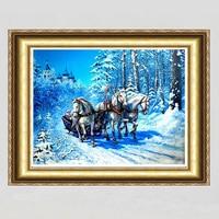Blue Snow Horse Patchwork 5D Diy Diamond Painting 30x40 Square Diamond Embroidery Sets Handwork Diy Cross
